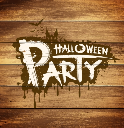 Halloween party message on wood background Vector