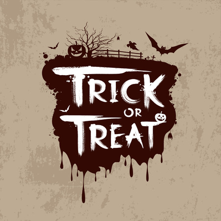 Halloween trick or treat message design Vector