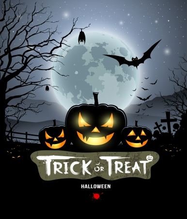 Halloween trick or treat pumpkin design Vector