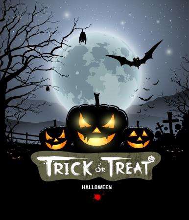 black grunge background: Halloween trick or treat pumpkin design