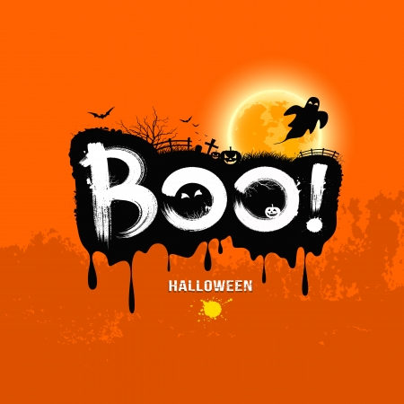 halloween message: Halloween Message Boo   design
