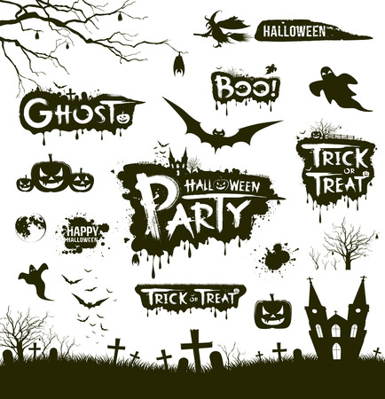 Happy Halloween collections black and white design Vector
