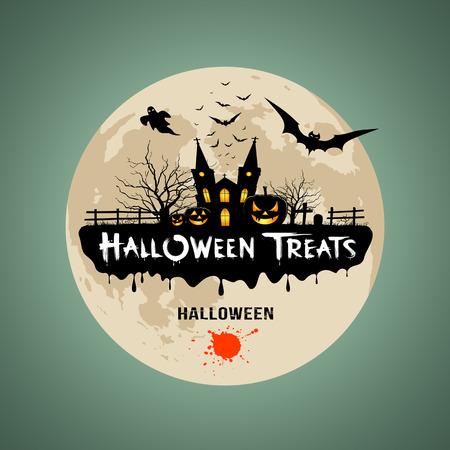 Halloween behandelt bericht ontwerp achtergrond Stock Illustratie