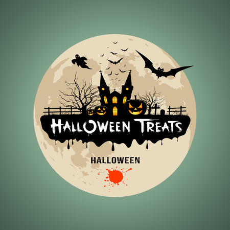 Halloween treats message design background Vector