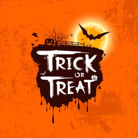 Halloween trick or treat message on orange background Vector