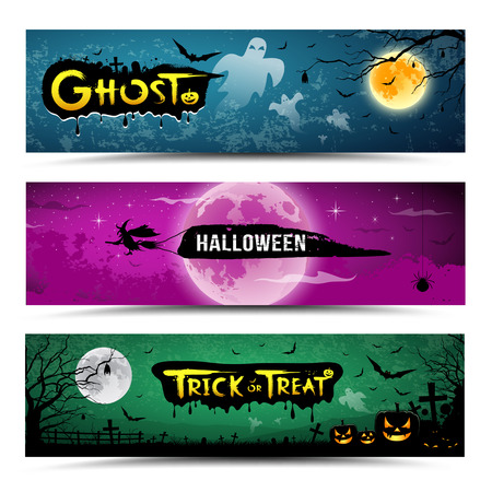 Happy Halloween banner set design Vector