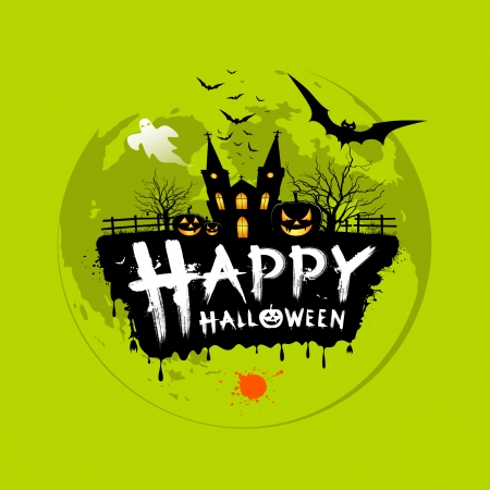 happy halloween: Happy Halloween message design on green background
