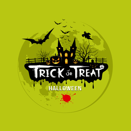 Trick or treat halloween design on green  Vector