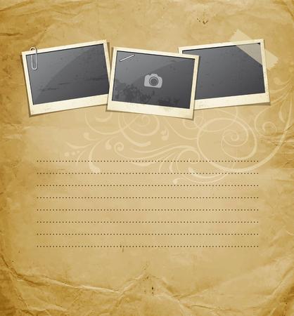 instant message: Vintage Instant photo on old paper design