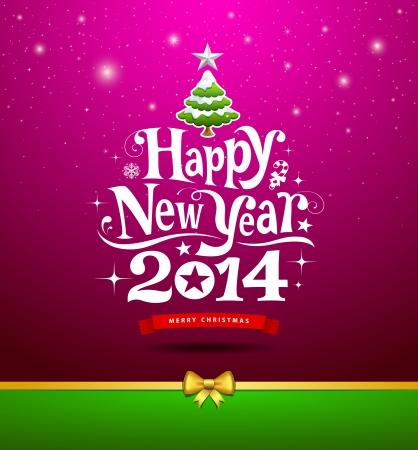 nieuwjaar: Gelukkig Nieuwjaar, belettering Wenskaart Stock Illustratie