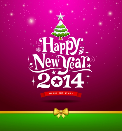 happy new year card: Happy New Year, lettering Greeting Card