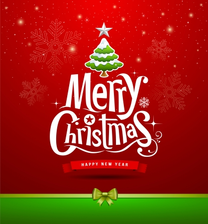 Merry Christmas lettering design background Vector