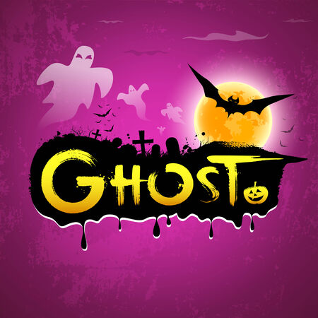 Halloween Ghost message on purple background, vector Vector
