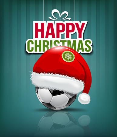 メリー クリスマス、サッカー ボールの背景のサンタ帽子