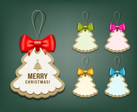 Label paper and colorful ribbons Merry Christmas