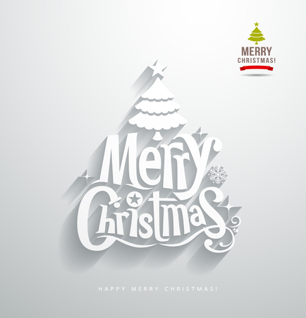 Merry Christmas, lettering paper cut design background Vector