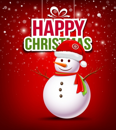 Snowman have Hat red Santa Claus on red background Vector
