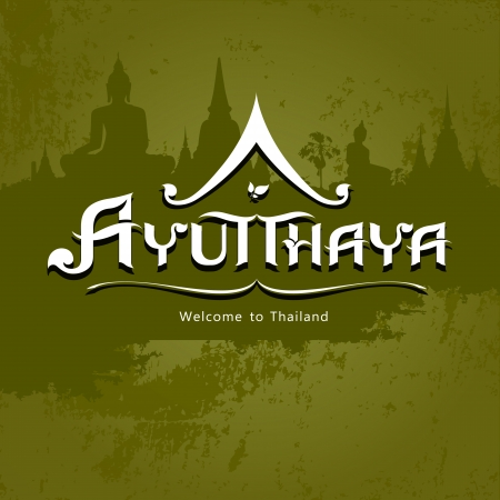 thai buddha: Ayutthaya Province message text design