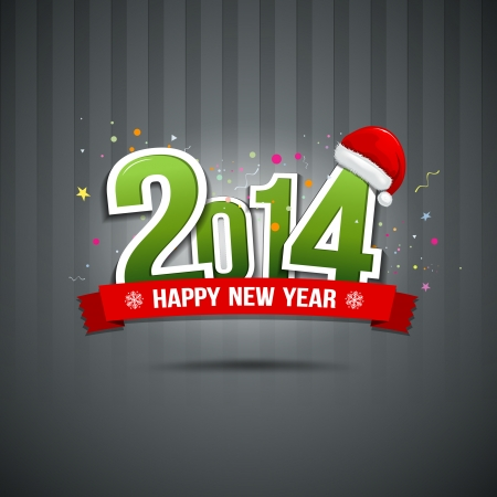 message text: Happy New Year 2014 message text paper  Illustration
