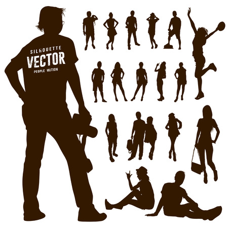 exaltation: Silhouette Motion people background, vector illustration Illustration