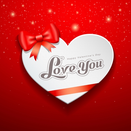 Happy Valentine s Day Greeting Card and red ribbon Vector