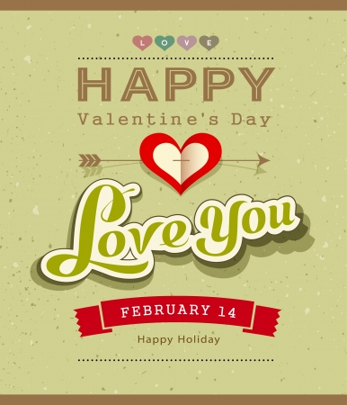 Happy Valentine message banner design on recycled paper Vector
