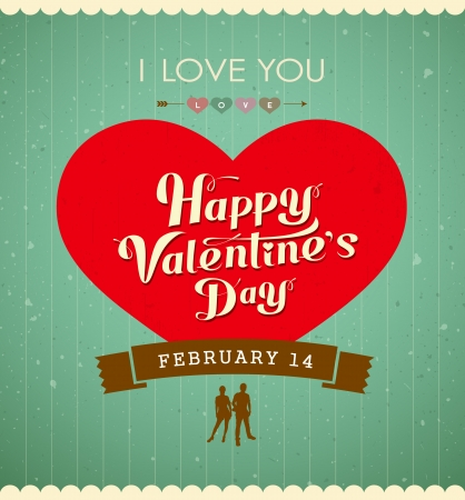 Happy Valentine s day message, red heart vintage banner design background Vector