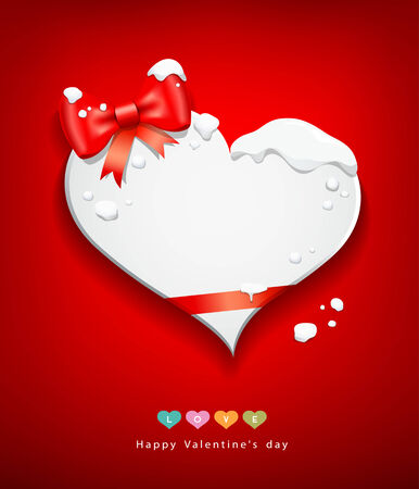Happy Valentines Day red ribbon snow in winter Vector