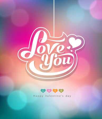 Colorful bokeh message love you valentines day design background Vector