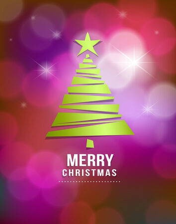 Merry Christmas green tree paper design on bokeh purple background Vector