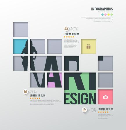 cuadrados: Plantilla infografías modernos cuadrados