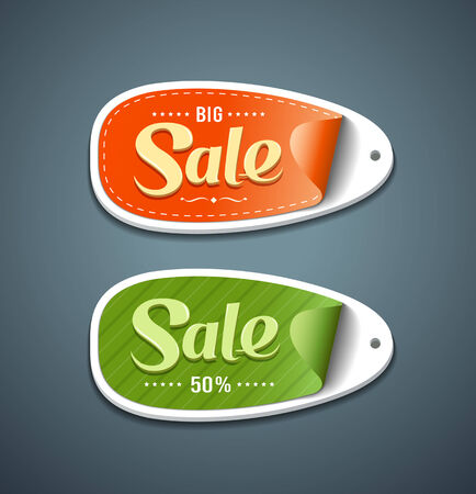 Orange and Green Labels paper for sale business design Vector