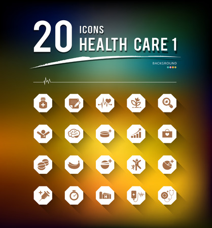 Health care twenty icons design background Vector