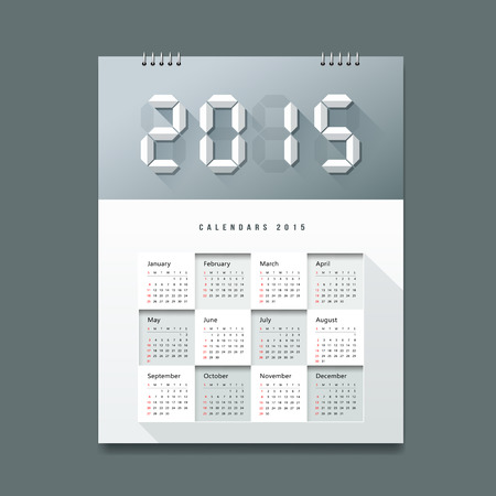 Calendar 2015 Number paper digital design Vector