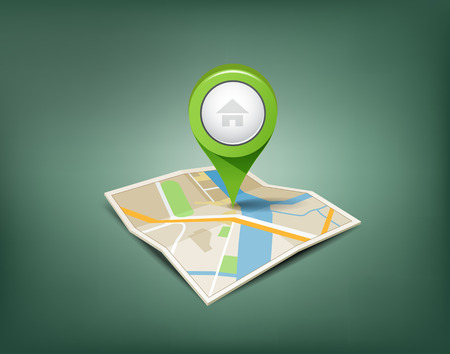 Folded maps with green color point markers Vector