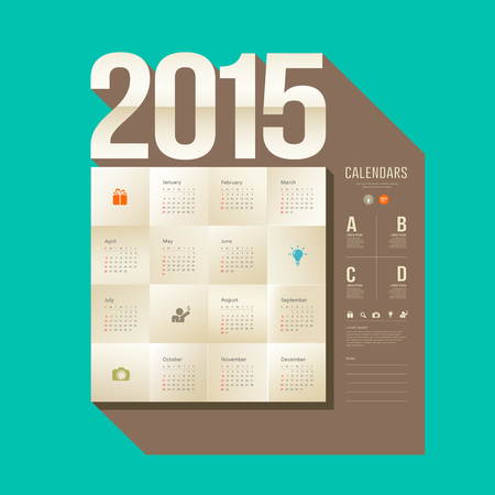 Calendar 2015, origami paper square design Vector