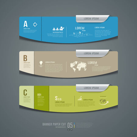 Banner colorful label paper cut for business infographic Stock Vector - 27359905