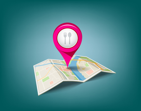 Folded maps with pink color point markers Vector