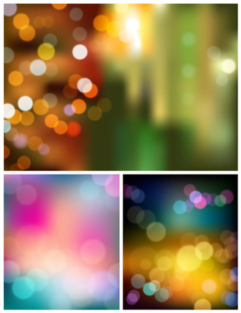 Abstract bokeh three collections background Vector