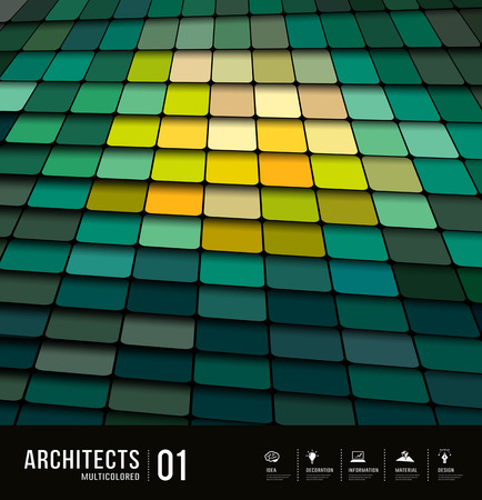 Architects abstract multicolored tiles materials design Vector