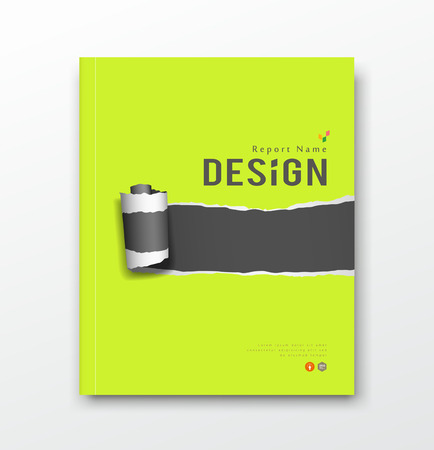 Cover annual report, green and black paper roll ripped design background