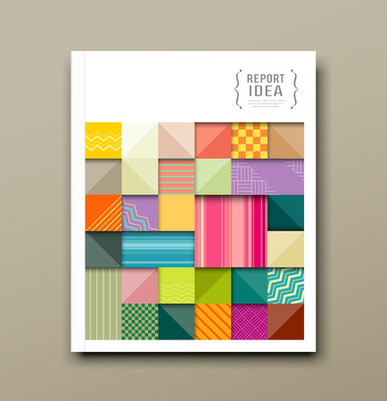 Cover annual report, colorful pattern fabrics square Vector