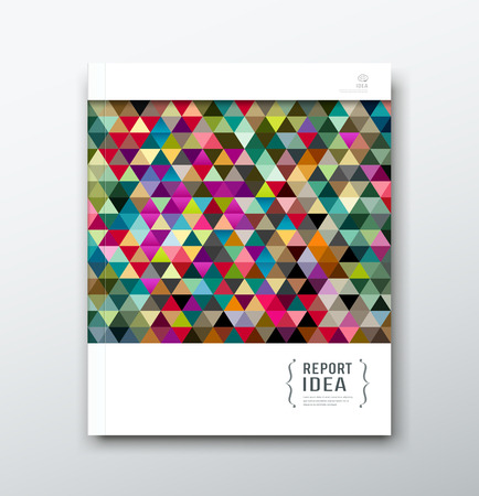 Cover annual report abstract colorful triangle geometric template design background Vector