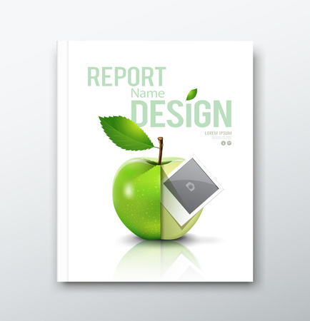 color pages: Cover Annual report, green apple and instant photo design background Illustration