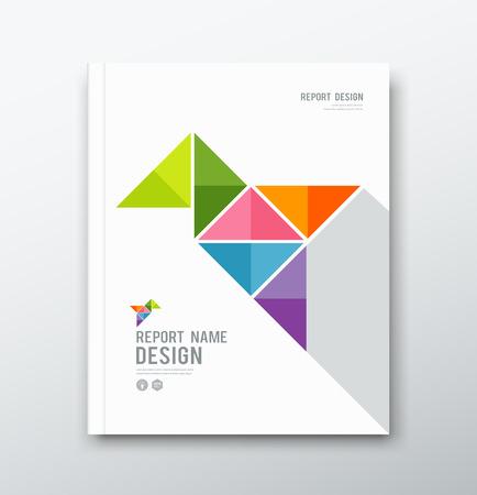 年次報告書、カラフルな鳥の折り紙の紙のデザインをカバーします。