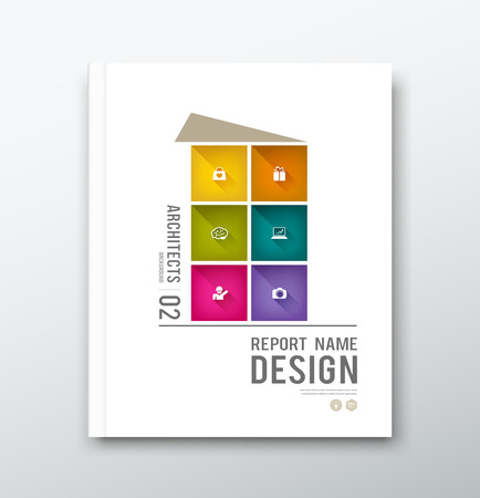 Cover annual report colorful building graphic design background Vector