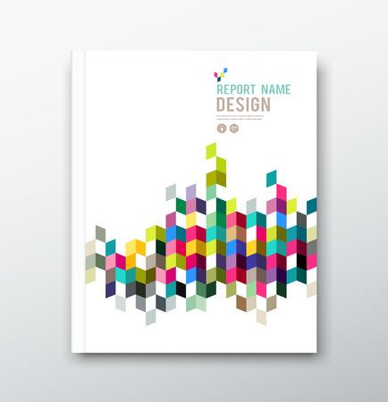 年次報告書やパンフレットのカラフルな幾何学的なデザインの背景をカバーします。 写真素材 - 27888250