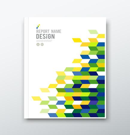 年次報告書の幾何学的なデザインをカバーします。