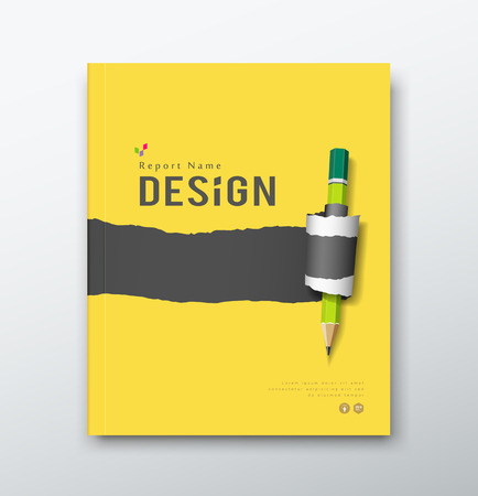 Cover annual report, yellow and black paper roll ripped with pencil  Vector