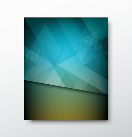 report card: Cover brochure abstract triangle design blue background